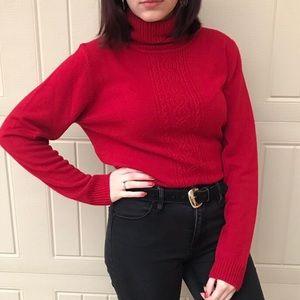 Red turtleneck